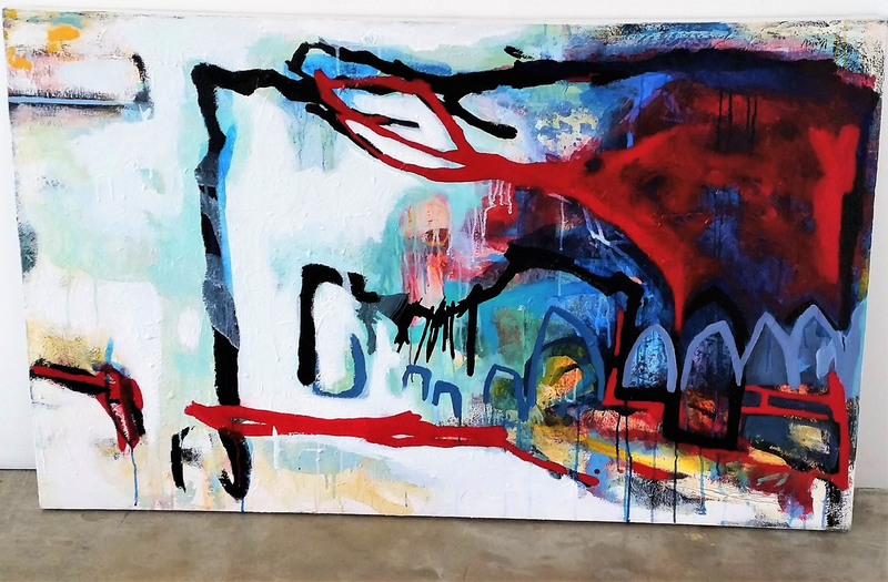 (CreativeWork) City Grit by Melanie Cooper. Acrylic Paint. Shop online at Bluethumb.