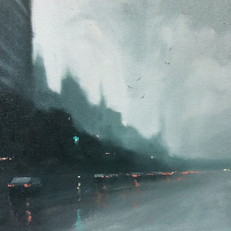(CreativeWork) The Great Escape - Rainy cityscape by Mike Barr. Oil Paint. Shop online at Bluethumb.