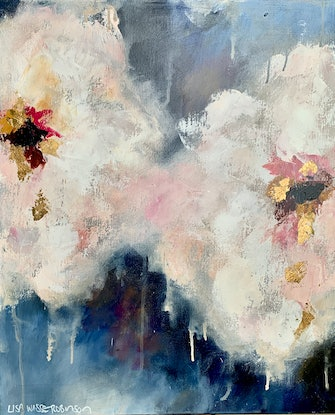 (CreativeWork) Plum Blossom Kiss by Lisa Wisse-Robinson. Mixed Media. Shop online at Bluethumb.