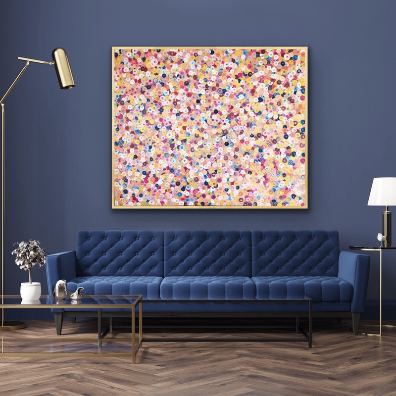 (CreativeWork) Golden gaytime 2  122x102 framed large abstract reserved for xiaoya by Sophie Lawrence. Acrylic Paint. Shop online at Bluethumb.