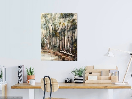 (CreativeWork) Ghost Gums. (Another in the  Bend in the River series) by Marion Rispin. Acrylic Paint. Shop online at Bluethumb.