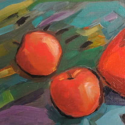 (CreativeWork) Red jug and apples by Liza Merkalova. Oil Paint. Shop online at Bluethumb.