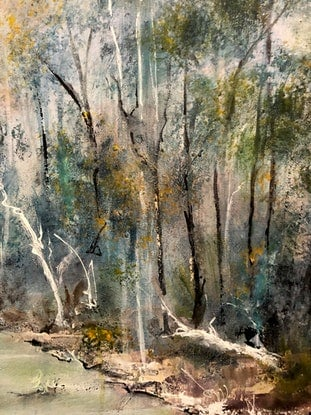 (CreativeWork) Misty Riverbank .(Revisited) by Marion Rispin. Acrylic Paint. Shop online at Bluethumb.