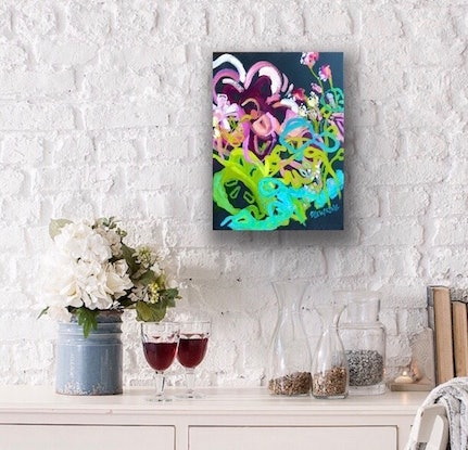 (CreativeWork) Paris - Abstract Flowers by Jen Shewring. Oil Paint. Shop online at Bluethumb.
