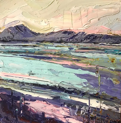 (CreativeWork) Coastal Summer by Hilly Coufreur. Oil Paint. Shop online at Bluethumb.
