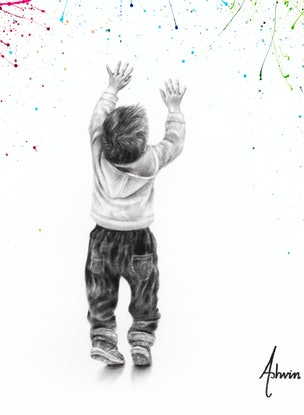 (CreativeWork) Youthful Happiness by Ashvin Harrison. Acrylic Paint. Shop online at Bluethumb.