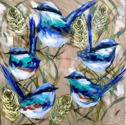 (CreativeWork) Blue wrens and banksia  by Amanda Brooks. Acrylic Paint. Shop online at Bluethumb.