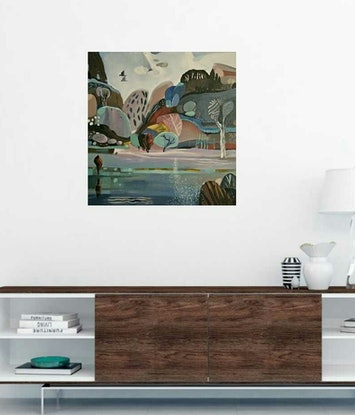 (CreativeWork) Abstract landscape  - Mountain River # 2 by Susan Trudinger. Acrylic Paint. Shop online at Bluethumb.