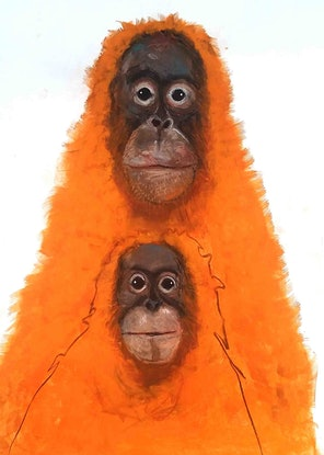 (CreativeWork) Orangutan - Mother and child series  by John Graham. Mixed Media. Shop online at Bluethumb.