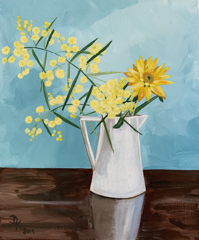 (CreativeWork) Wattle With Marigold by Dominika Keller. Acrylic Paint. Shop online at Bluethumb.