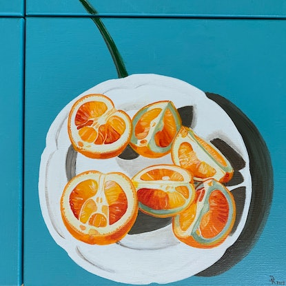 (CreativeWork) A Simple Breakfast by Dominika Keller. Acrylic Paint. Shop online at Bluethumb.