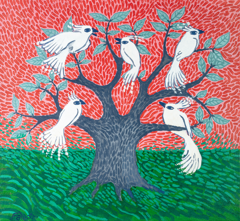 (CreativeWork)  Cockatoos in a Weird Tree by Amanda Falvo. Acrylic Paint. Shop online at Bluethumb.