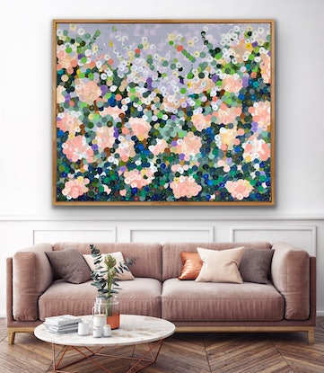 (CreativeWork) On sale White roses 122x102 large textured abstract by Sophie Lawrence. Acrylic Paint. Shop online at Bluethumb.