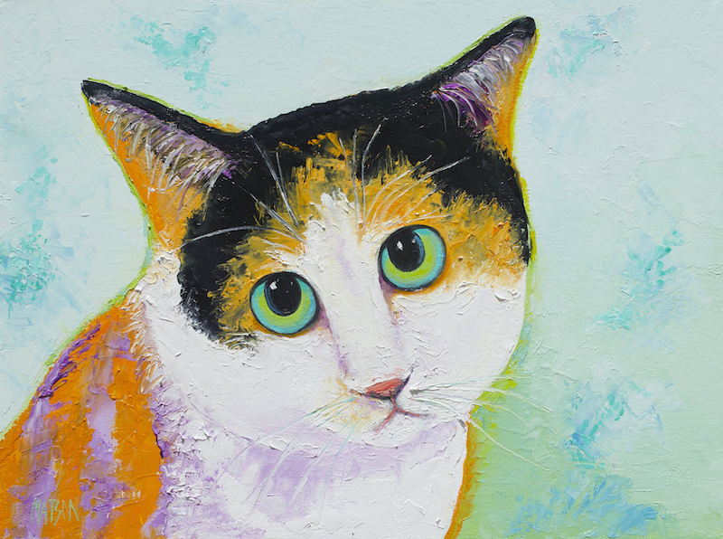 (CreativeWork) CALVIN THE CALICO CAT by Jan Matson. Oil Paint. Shop online at Bluethumb.