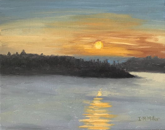 (CreativeWork) Sunrise- Orange & Blue Sky by Ishbel Morag Miller. Oil Paint. Shop online at Bluethumb.