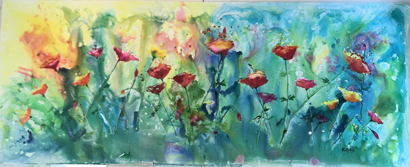 (CreativeWork) Commissioned. Popping colour poppies .  by Ruth Bye. Watercolour Paint. Shop online at Bluethumb.