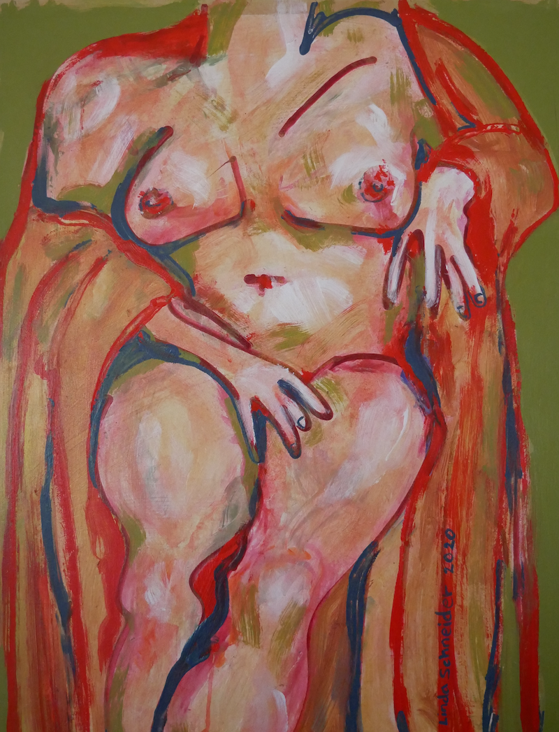 (CreativeWork) Torso in Gold - A Nod to Matisse (Unframed) by Linda Schneider. Acrylic Paint. Shop online at Bluethumb.