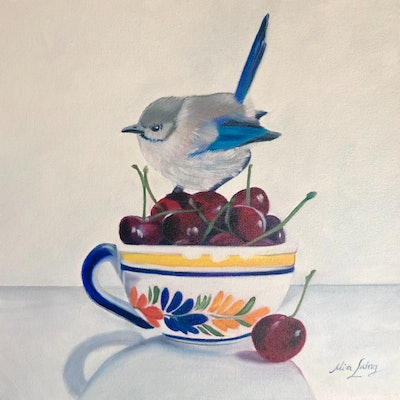 (CreativeWork) Cherry Crush  by Mia Laing. Oil Paint. Shop online at Bluethumb.