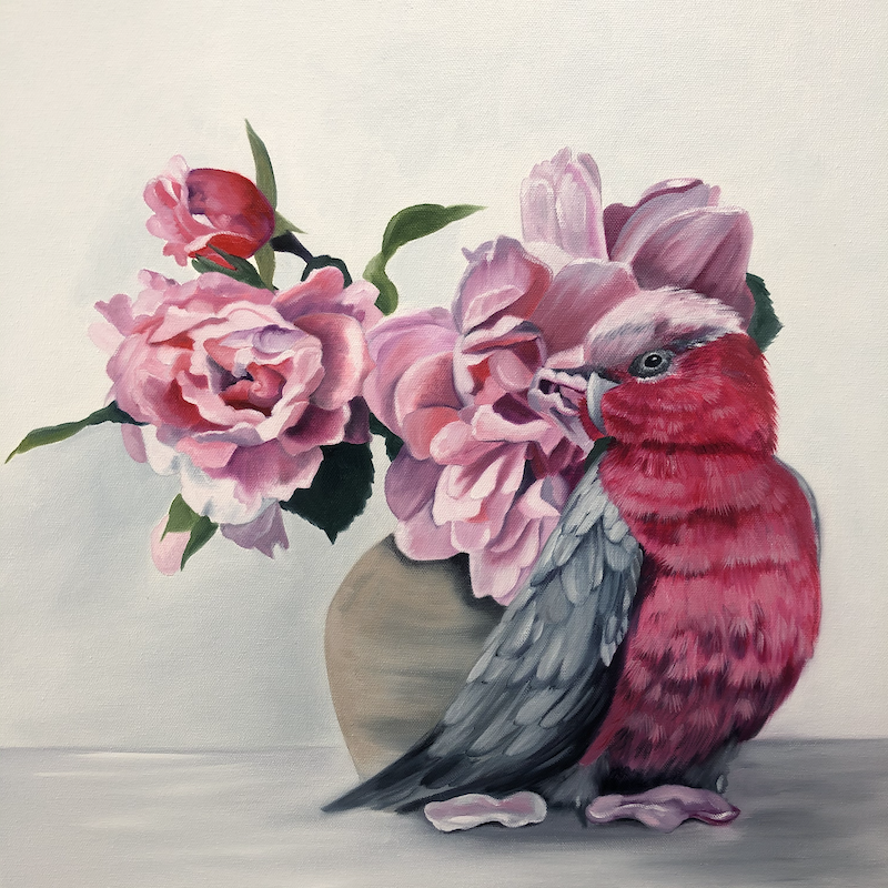 (CreativeWork) Pink and Grey by Mia Laing. Oil Paint. Shop online at Bluethumb.