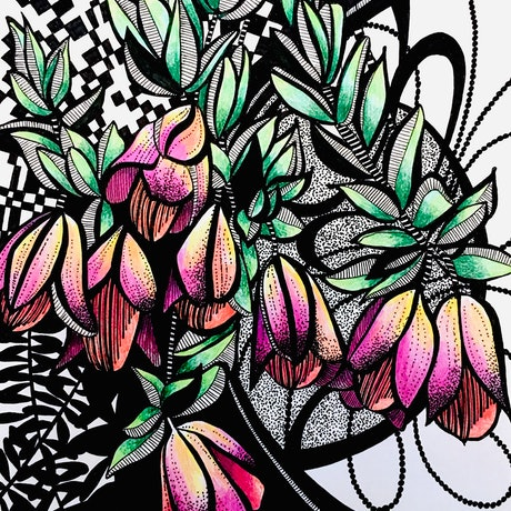 (CreativeWork) Pink and Lemon Bell Flowers by Tania Daymond. Drawings. Shop online at Bluethumb.