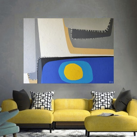 (CreativeWork) Sunken sun - large original textured acrylic on canvas, ready to hang by Yelena Revis. Acrylic Paint. Shop online at Bluethumb.
