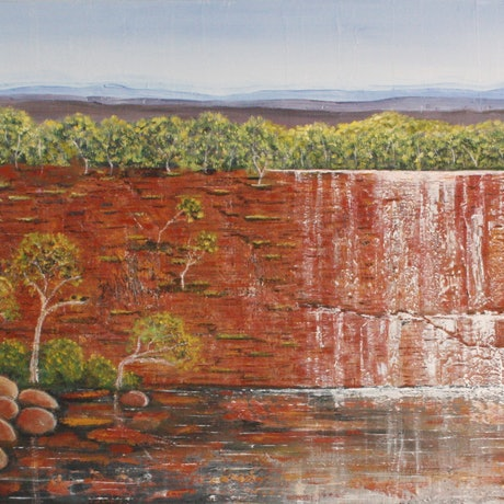 (CreativeWork) Top End Falls   by Corinne Young. Oil Paint. Shop online at Bluethumb.