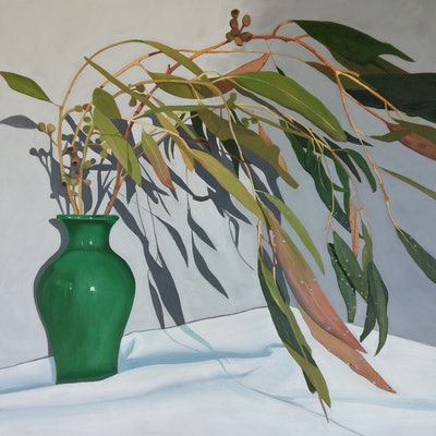 (CreativeWork) Green vase and golden gum by Sandra Jenkins. Oil Paint. Shop online at Bluethumb.