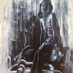 (CreativeWork) HAYLEY feat. 1950 Ford Coupe by Rosa Fedele. Oil Paint. Shop online at Bluethumb.
