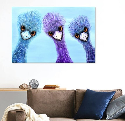 (CreativeWork) Three Amigos - Emus by Linda Callaghan. Acrylic Paint. Shop online at Bluethumb.