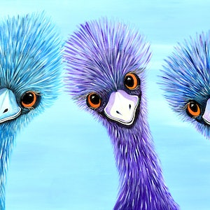 (CreativeWork) The Three Amigos - Emus by Linda Callaghan. Acrylic Paint. Shop online at Bluethumb.
