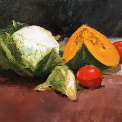 (CreativeWork) 'Still Life with Vegies' - oil by Roz McQuillan. Oil Paint. Shop online at Bluethumb.