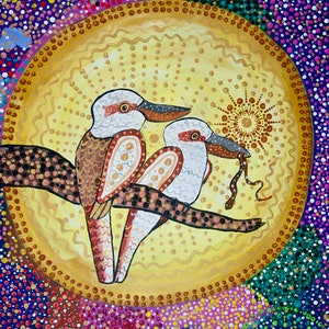 (CreativeWork) Goo-Goor-Gaga the Kookaburra 2 by Cynthia Farr BARUNGGUM. Acrylic Paint. Shop online at Bluethumb.