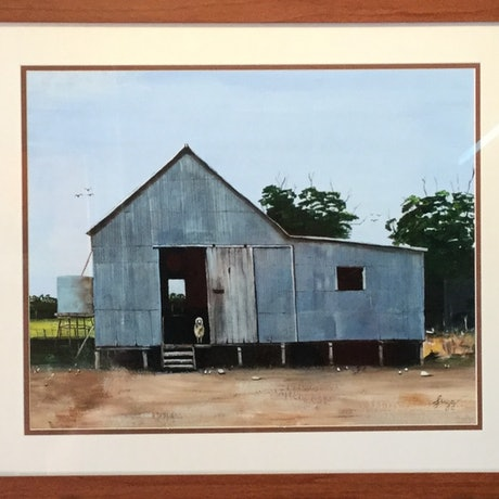 (CreativeWork) Old shearing shed by Geoff Lugg. Acrylic Paint. Shop online at Bluethumb.