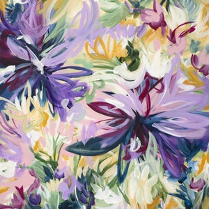 (CreativeWork) Exotic Wild Flowers by Amber Gittins. Acrylic Paint. Shop online at Bluethumb.