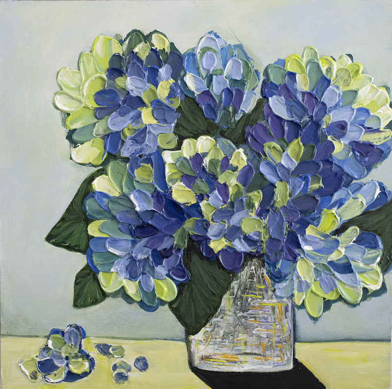 (CreativeWork) Hydrangea Symphony  by Selenia Costanzo. Acrylic Paint. Shop online at Bluethumb.