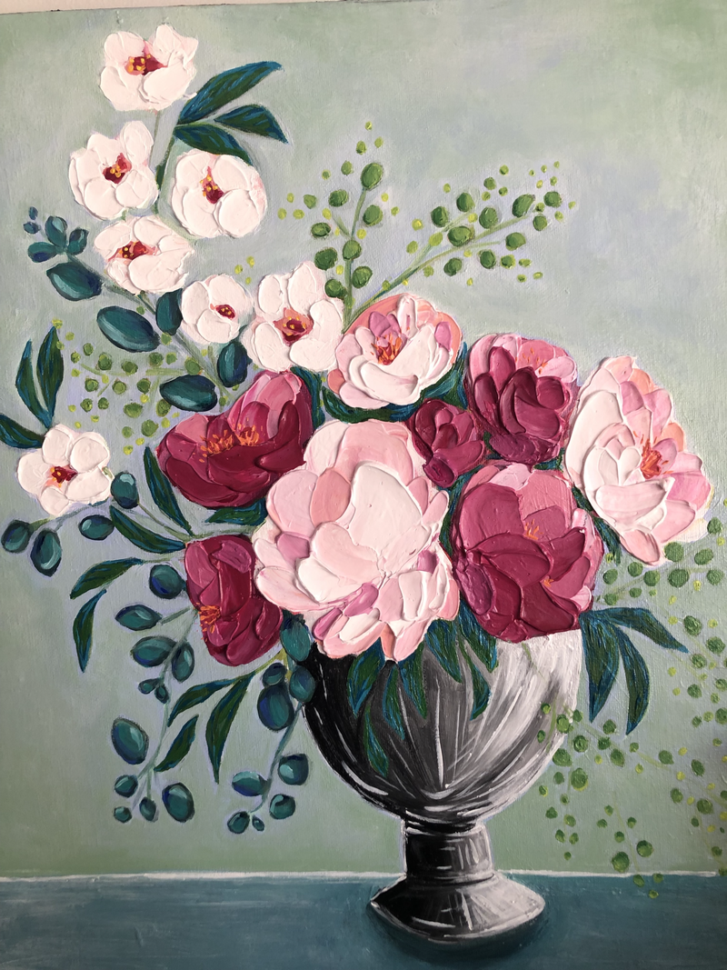 (CreativeWork) Peonies & Dogwood by Selenia Costanzo. Acrylic Paint. Shop online at Bluethumb.