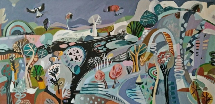 (CreativeWork) Abstract landscape  -Wandering by Susan Trudinger. Acrylic Paint. Shop online at Bluethumb.