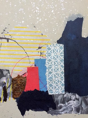 (CreativeWork) Histories Children. Abstract mixed-media collage on Japanese prayer card.  (Needs framing)     by Jenny Davis. Mixed Media. Shop online at Bluethumb.