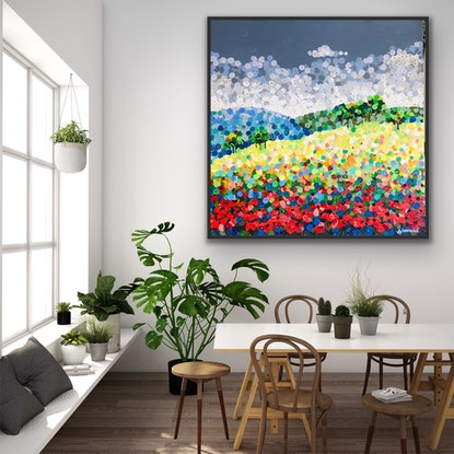 (CreativeWork) On sale Hilltop fields and poppies 122x122 framed large textured abstract  on linen by Sophie Lawrence. Acrylic. Shop online at Bluethumb.