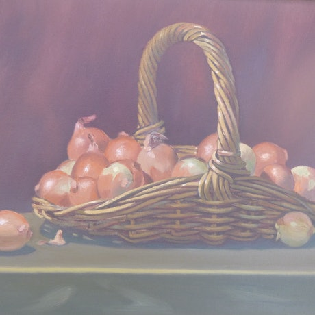 (CreativeWork) ONIONS AND BASKET by Glen Gillard. Oil Paint. Shop online at Bluethumb.