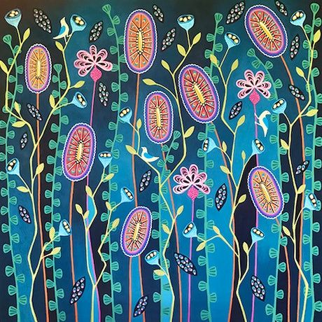(CreativeWork) Blooming Delightful by Lisa Frances Judd. Acrylic Paint. Shop online at Bluethumb.