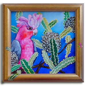 (CreativeWork) Galah and Banksias by Katerina Apale. Acrylic Paint. Shop online at Bluethumb.