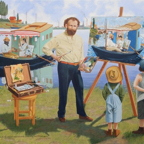 (CreativeWork) Edouard Manet paints Claude Monet and his wife Camille in his studio boat by Lance Ross. Oil Paint. Shop online at Bluethumb.