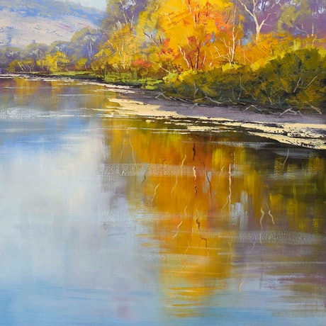 (CreativeWork) Autumn Colours Tumut River by Graham Gercken. Oil Paint. Shop online at Bluethumb.