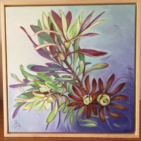 (CreativeWork) Floral Movement by Carolynne Mcintyre. Oil Paint. Shop online at Bluethumb.