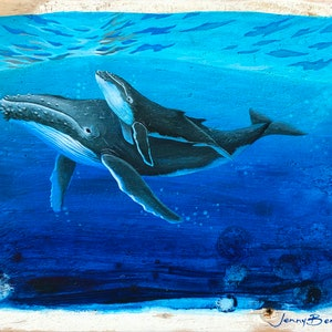 (CreativeWork) Ocean Between Our Love: Humpback Whales by Jenny Berry. Acrylic Paint. Shop online at Bluethumb.