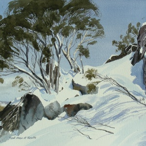 (CreativeWork) Fresh Snow at Thredbo by Lance Ross. Watercolour Paint. Shop online at Bluethumb.