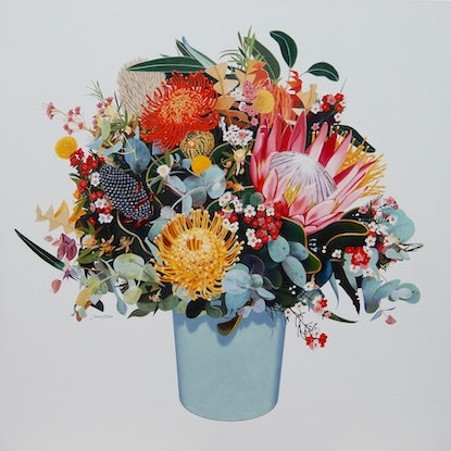 (CreativeWork) Australian Wild Flowers by Lance Ross. Oil Paint. Shop online at Bluethumb.