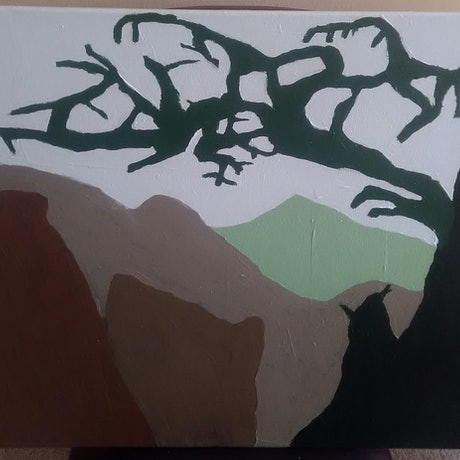 (CreativeWork) Abstract hills and tree by Mitch Ianni. Acrylic Paint. Shop online at Bluethumb.