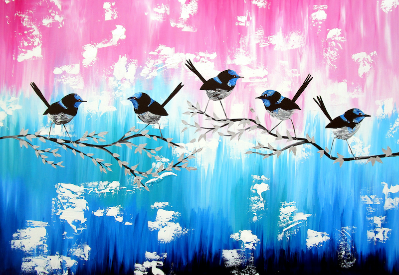 (CreativeWork) Blue Wrens by Cathy Jacobs. Acrylic Paint. Shop online at Bluethumb.